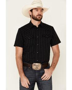 Cody James Men's Steer Stripe Short Sleeve Snap Western Shirt , Navy, hi-res