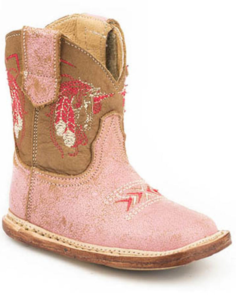 Roper Youth Girls' Vintage Pink Western Boots - Square Toe, Tan, hi-res