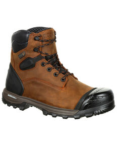 Rocky Men's XO-Toe Waterproof Work Boots - Composite Toe, Brown, hi-res