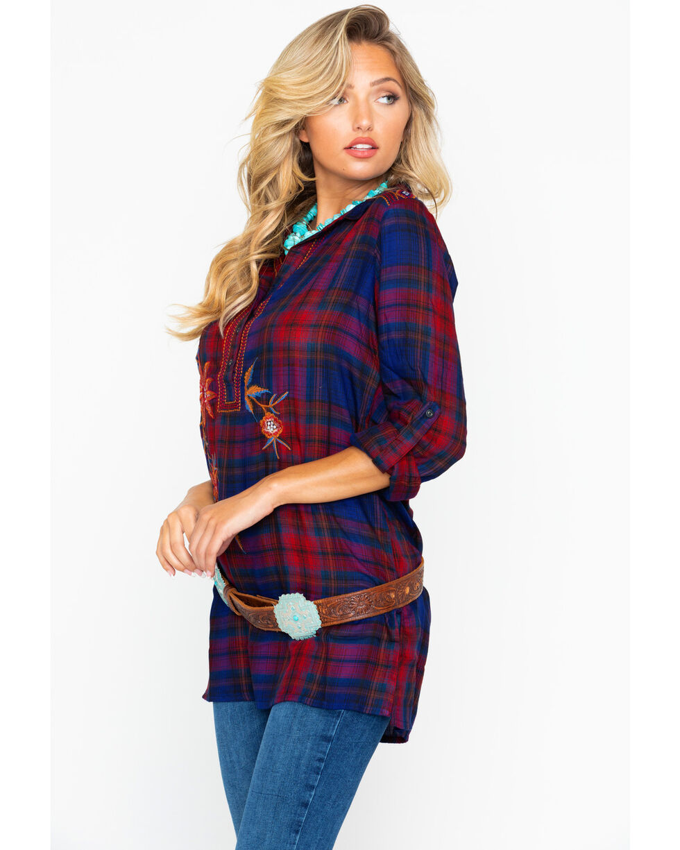 New Direction Women's Floral Embroidered Plaid Long Sleeve Tunic , Blue/red, hi-res