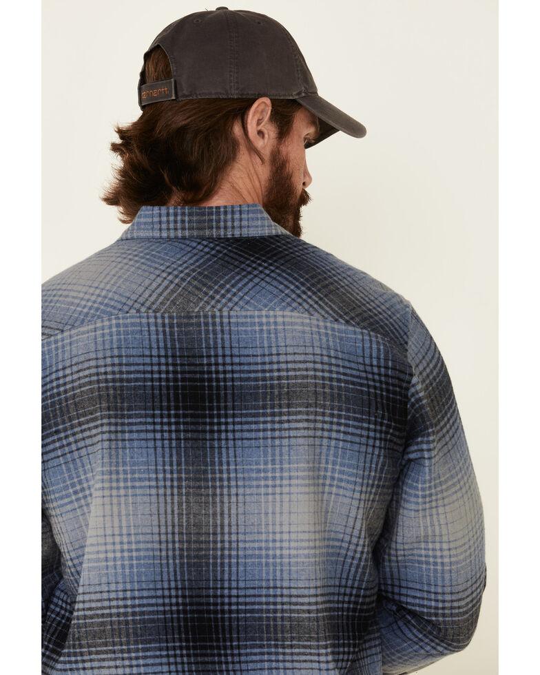 North River Men's Blue Barn Plaid Long Sleeve Western Flannel Shirt , Blue, hi-res