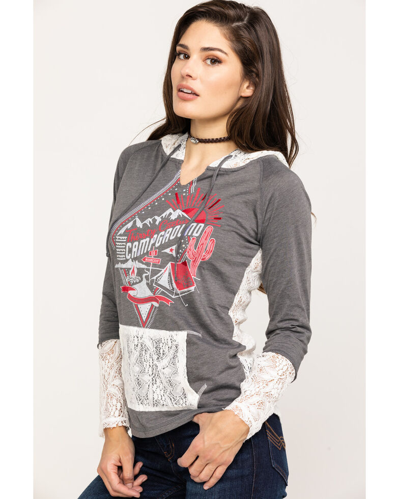 White Label by Panhandle Women's Campground Graphic Hoodie Shirt, Grey, hi-res