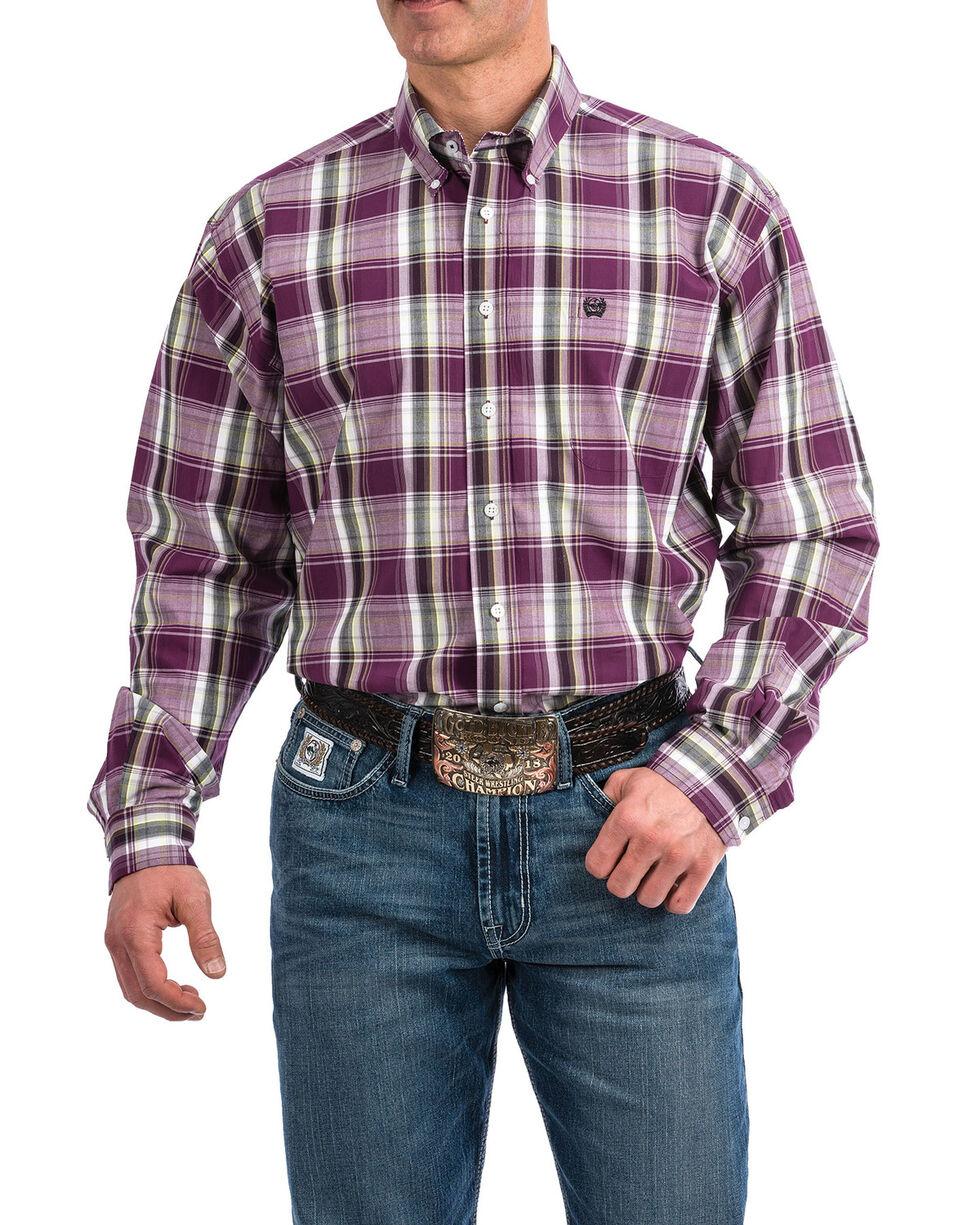 Cinch Men's Purple Plaid Plain Weave Long Sleeve Western Shirt , Purple, hi-res