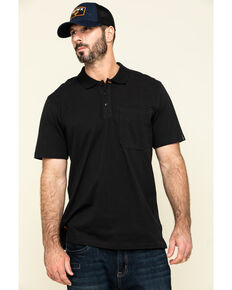Hawx Men's Black Miller Pique Short Sleeve Work Polo Shirt - Tall , Black, hi-res