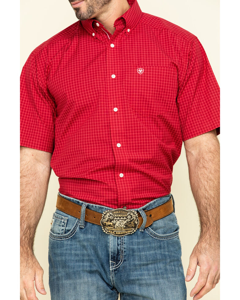 Ariat Men's Tamalpais Small Plaid Short Sleeve Western Shirt - Big , Red, hi-res