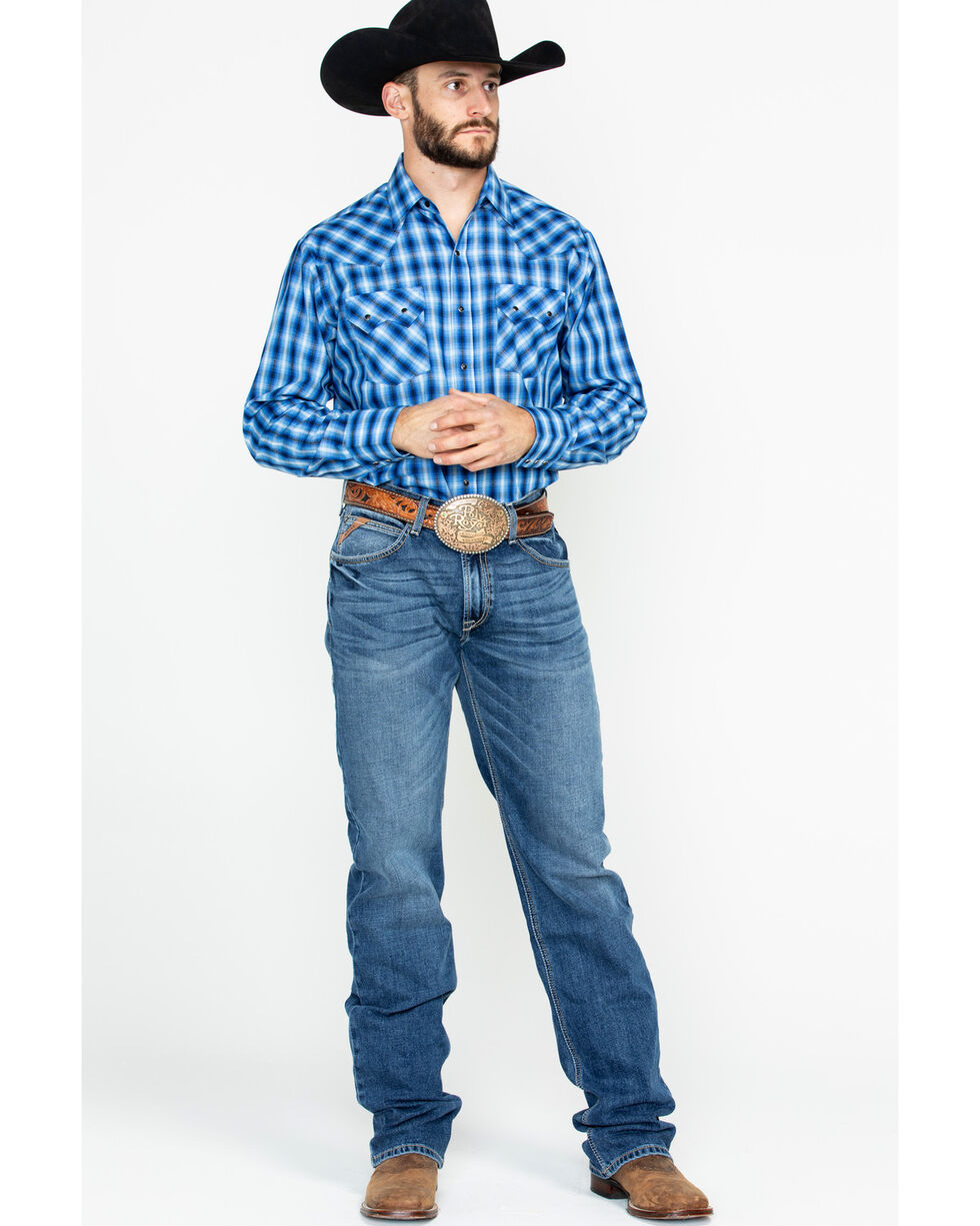 Ely Cattleman Men's Arrowhead Dobby Plaid Long Sleeve Western Shirt , Blue, hi-res