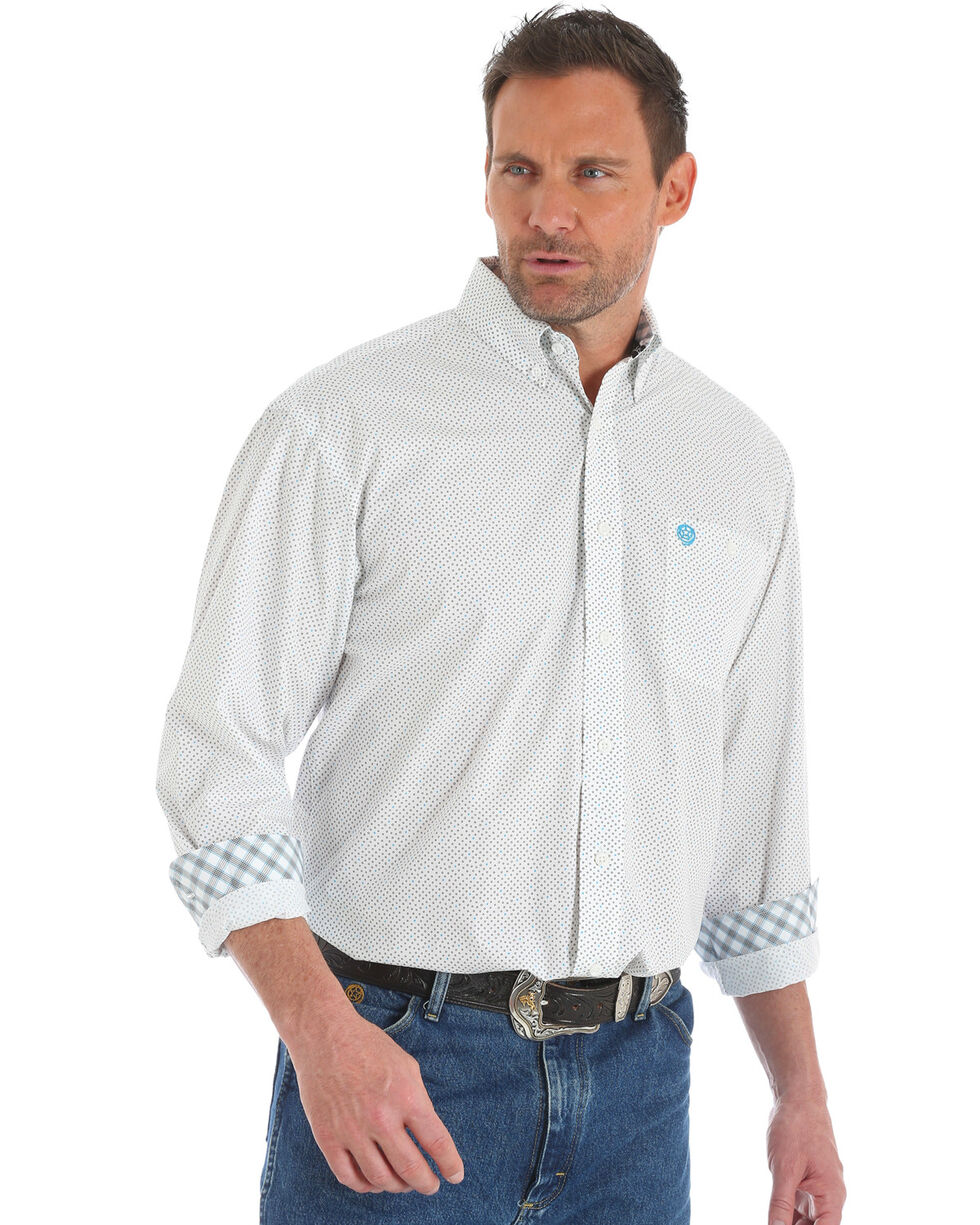 George Strait by Wrangler Men's White Geo Dot Long Sleeve Western Shirt , White, hi-res
