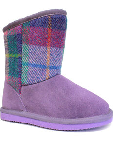 Lamo Footwear Girls' Wembley Boots - Round Toe , Purple, hi-res