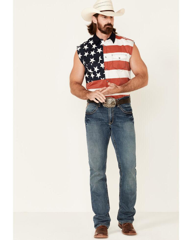 Cody James Men's American Flag Bubba Sleeveless Western Shirt , Multi, hi-res