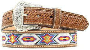 Nocona Beaded Inlay Leather Belt, Tan, hi-res