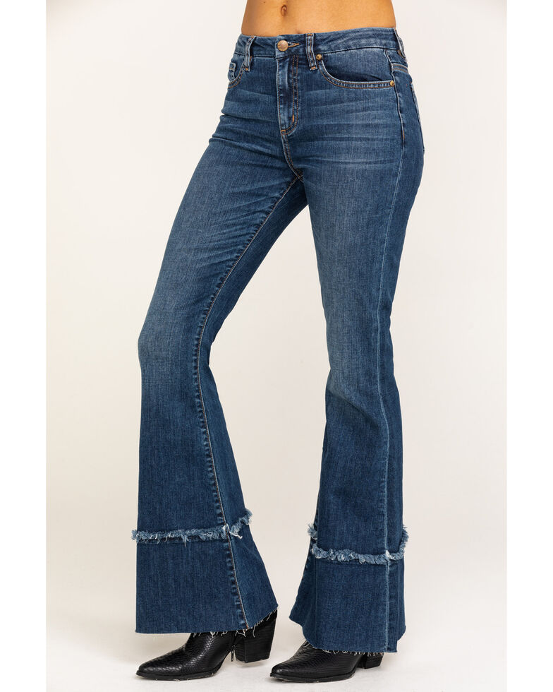Miss Me Women's Medium High Rise Destructed Flare Jeans, Blue, hi-res