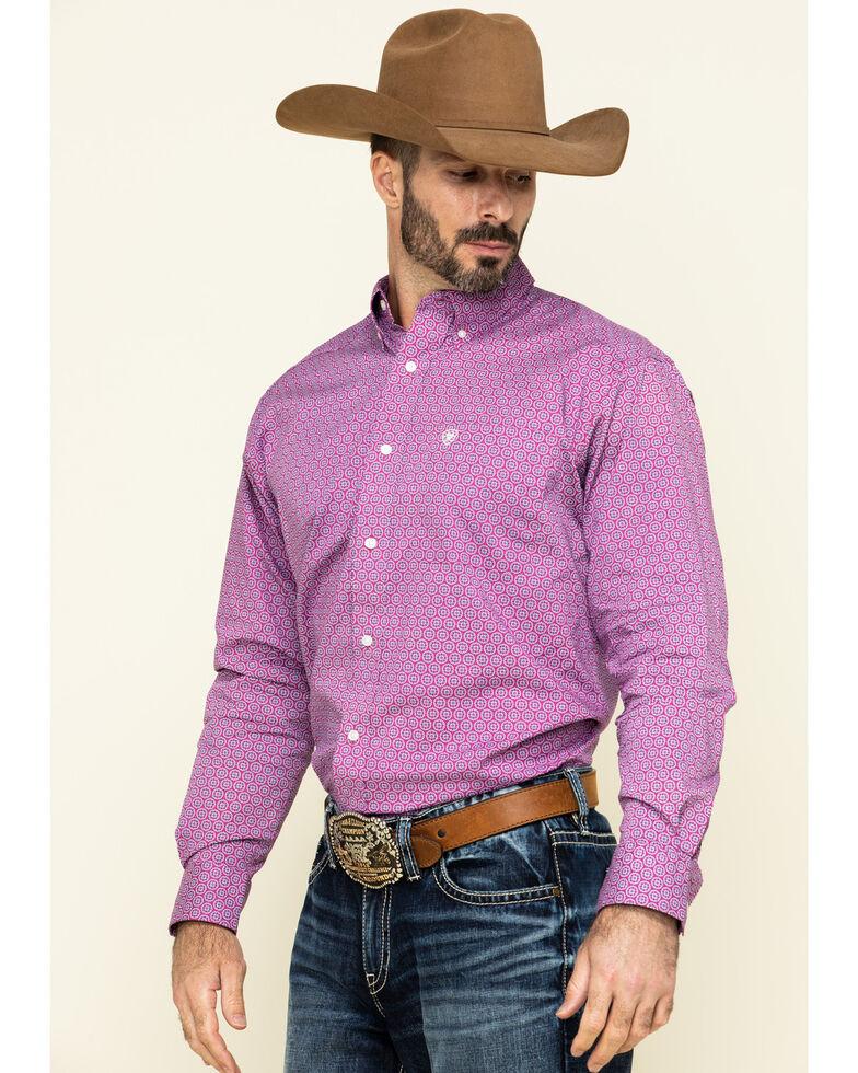 Ariat Men's Caidan Geo Print Long Sleeve Western Shirt , Magenta, hi-res