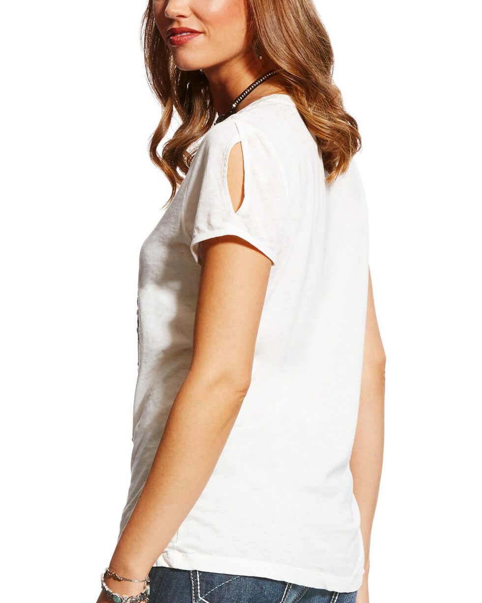 Ariat Women's Cream Aztec Nailhead Short Sleeve Tee, Cream, hi-res