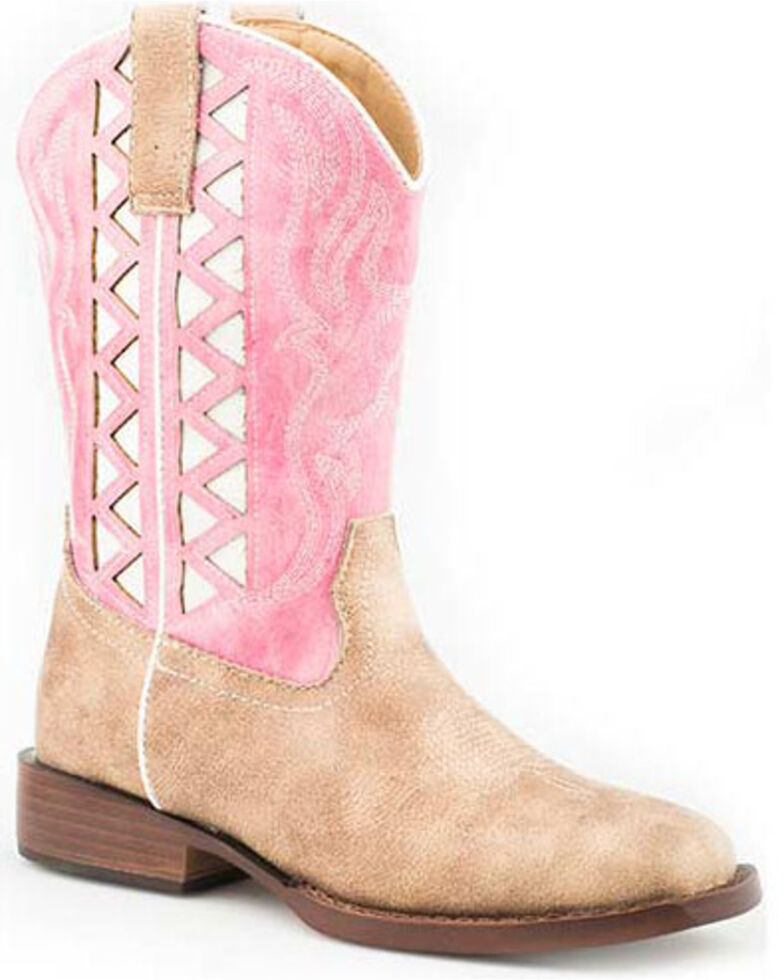 Roper Girls' Askook Western Boots - Round Toe, Pink, hi-res