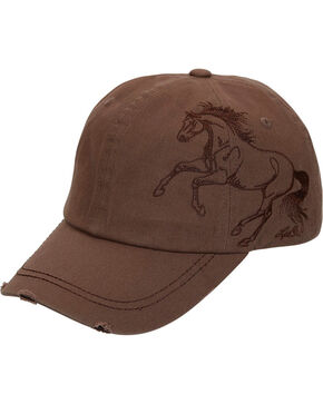 Western Express Women's Horse Embroidered Brown Vintage Cap, Brown, hi-res