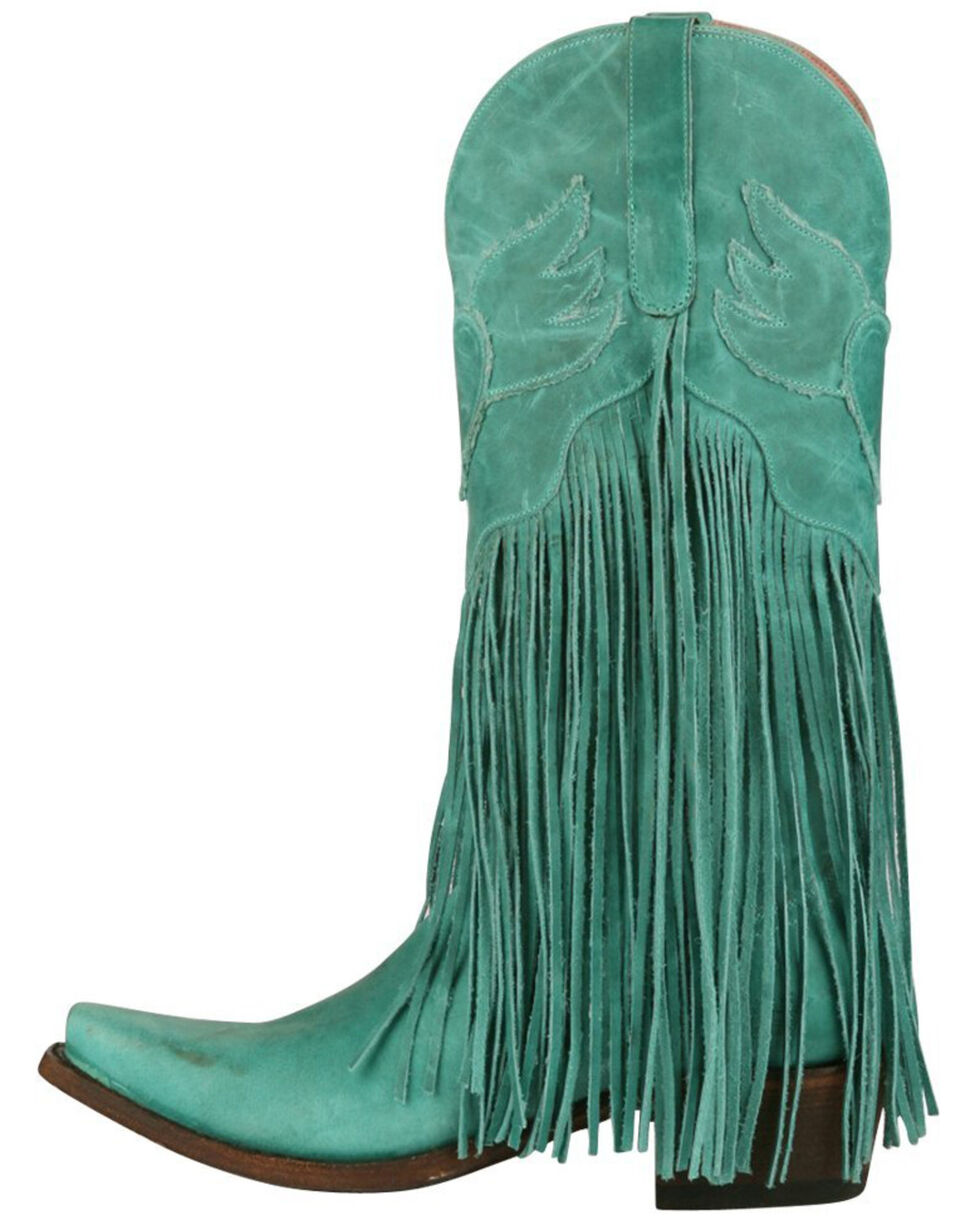 Junk Gypsy by Lane Women's Brown Dreamer Boots - Snip Toe , Turquoise, hi-res