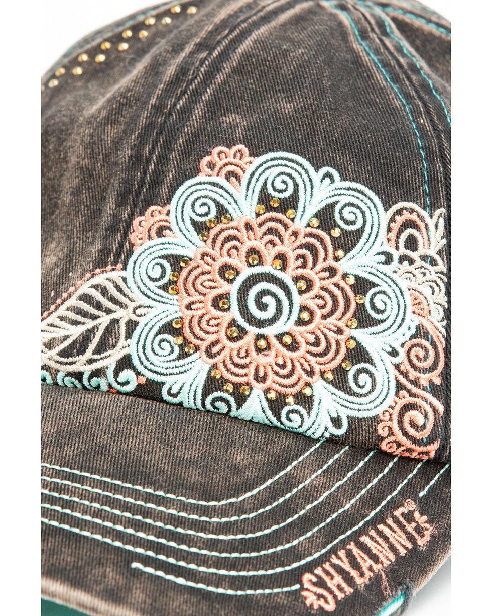Shyanne Women's Floral Bling Cap , Black, hi-res