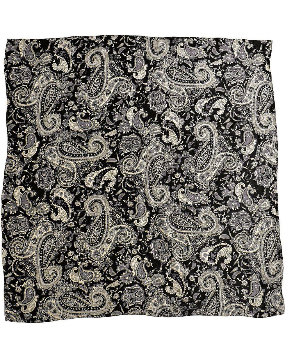 Black Paisley Silk Wild Rag, Black, hi-res