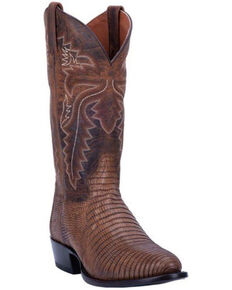 Dan Post Men's Winston Lizard Western Boots - Round Toe, Brown, hi-res