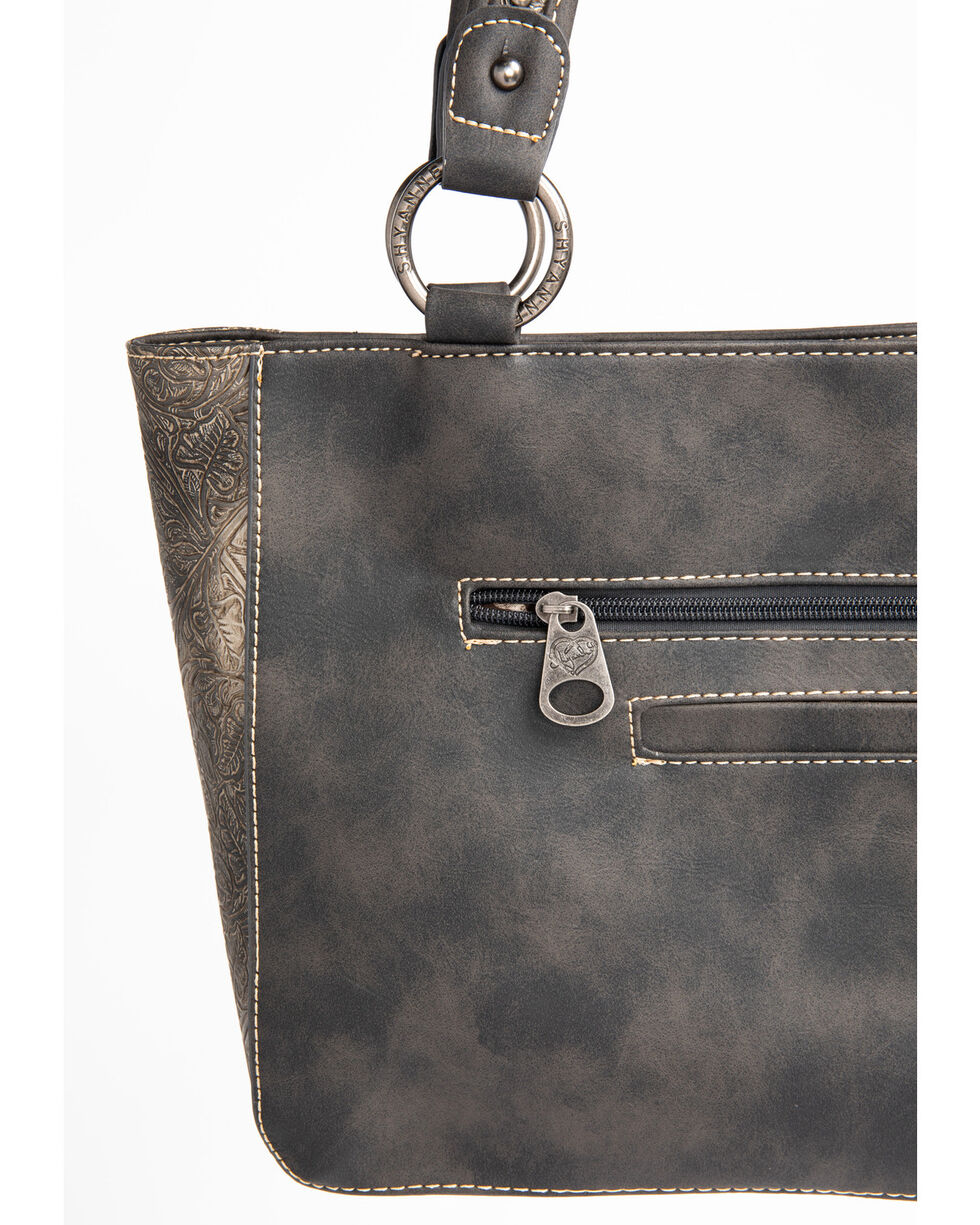 Shyanne Women's Tooled Metallic Pocket Tote, Grey, hi-res