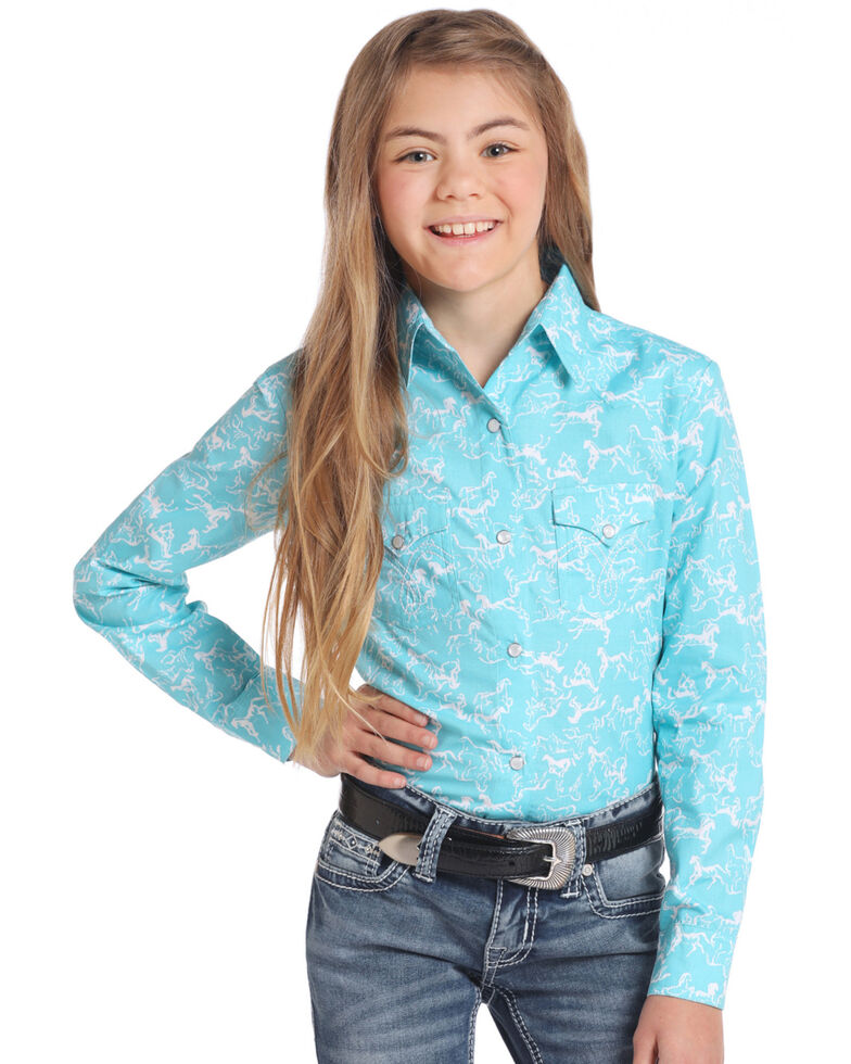 White Label by Panhandle Girls' Turquoise Horse Print Long Sleeve Western Shirt, Turquoise, hi-res