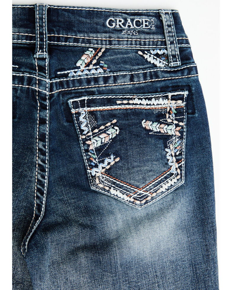 Grace In LA Girls' Embroidered Arrow Pocket Boot Cut Jeans, Blue, hi-res