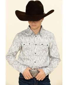 Cody James Boys' Los Ranchos Aztec Print Long Sleeve Western Shirt , Light Grey, hi-res