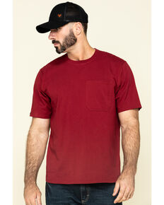 Hawx Men's Red Solid Pocket Short Sleeve Work T-Shirt - Tall , Red, hi-res