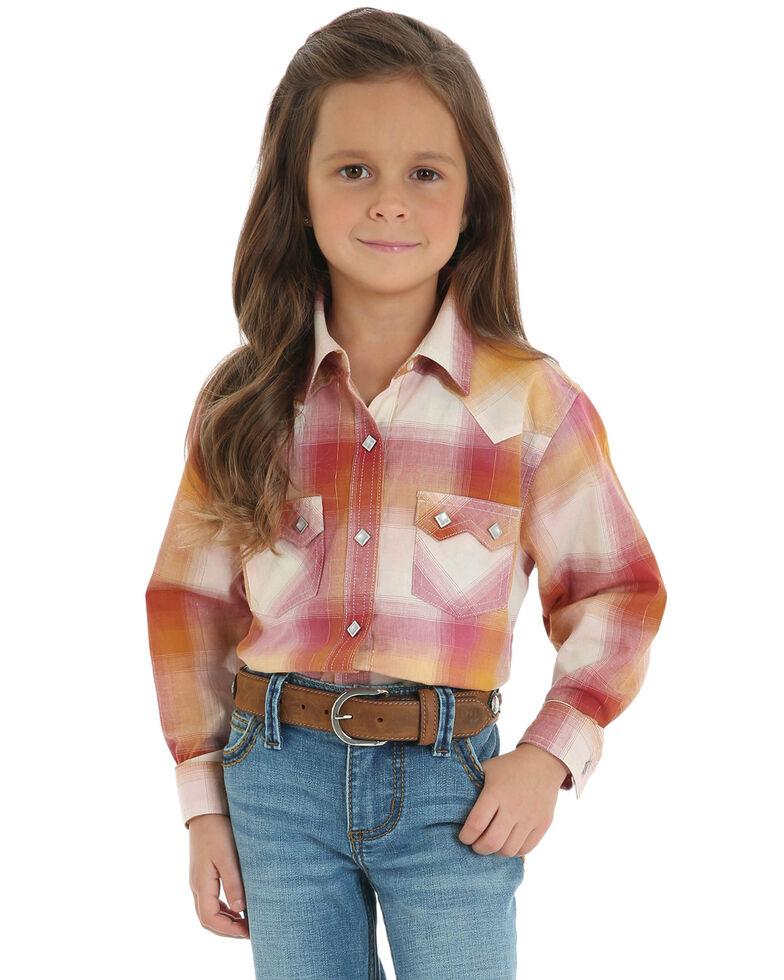 Wrangler Girls' Ombre Plaid Snap Long Sleeve Western Shirt, Gold, hi-res