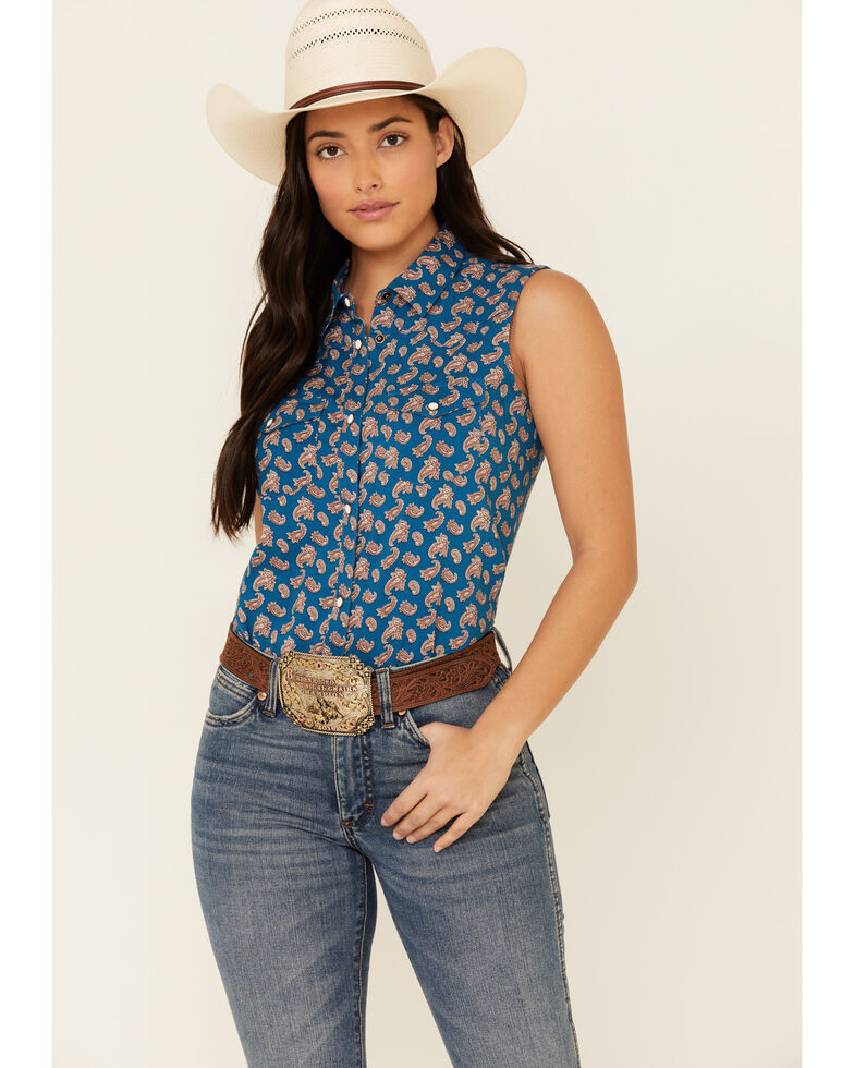 Shyanne Life Women's Blue Paisley Print Sleeveless Western Core Shirt , Blue, hi-res