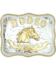 Western Express Men's Rodeo Horsehead German Silver Belt Buckle , Silver, hi-res