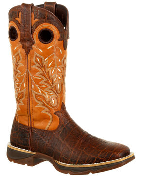 Durango Women's Lady Rebel Exotic Print Western Boots - Square Toe, Gold, hi-res