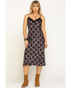 Eyeshadow Women's Lace Floral Midi Dress, Black, hi-res