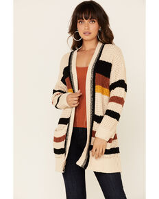 Hem & Thread Women's Cream Striped Cardigan , Cream, hi-res
