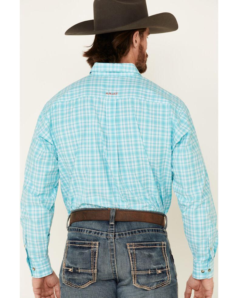 Ariat Men's Tangier Large Plaid Long Sleeve Western Shirt , Turquoise, hi-res