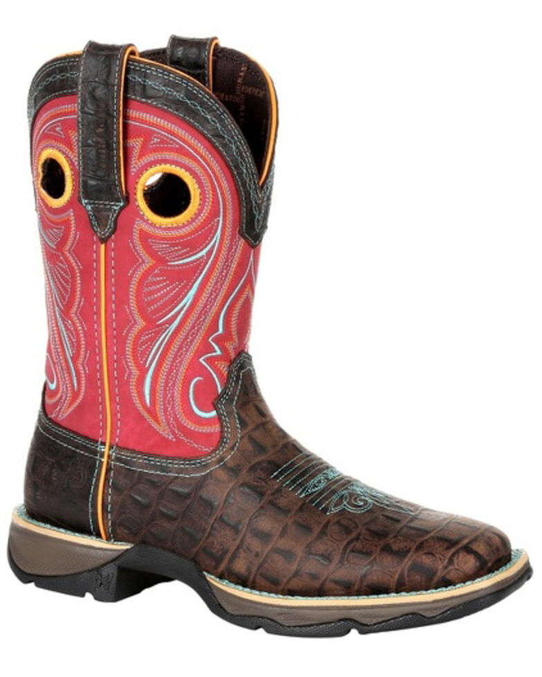 Durango Women's Lady Rebel Faux Gator Western Boots - Square Toe, Red/brown, hi-res