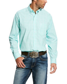 Ariat Men's Hackett Plaid Performance Long Sleeve Western Shirt - Big & Tall , Aqua, hi-res