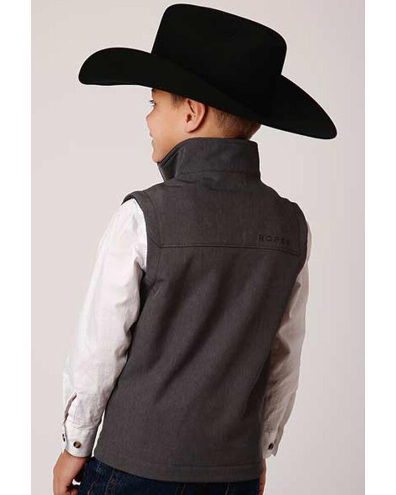 Roper Boys' Heather Grey Softshell Bonded Fleece Lined Vest , , hi-res