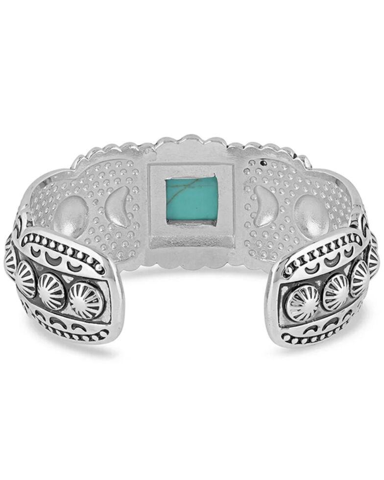 Montana Silversmiths Women's Flourished Turquoise Cuff Bracelet, Silver, hi-res