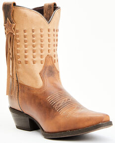 Laredo Women's Brown Fringe Western Boots - Snip Toe, Brown, hi-res