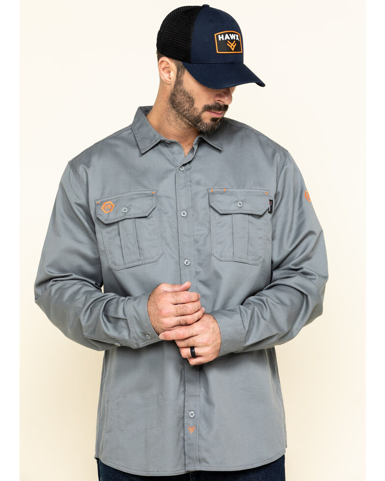 Hawx Men's Grey FR Long Sleeve Work Shirt - Big , Silver, hi-res
