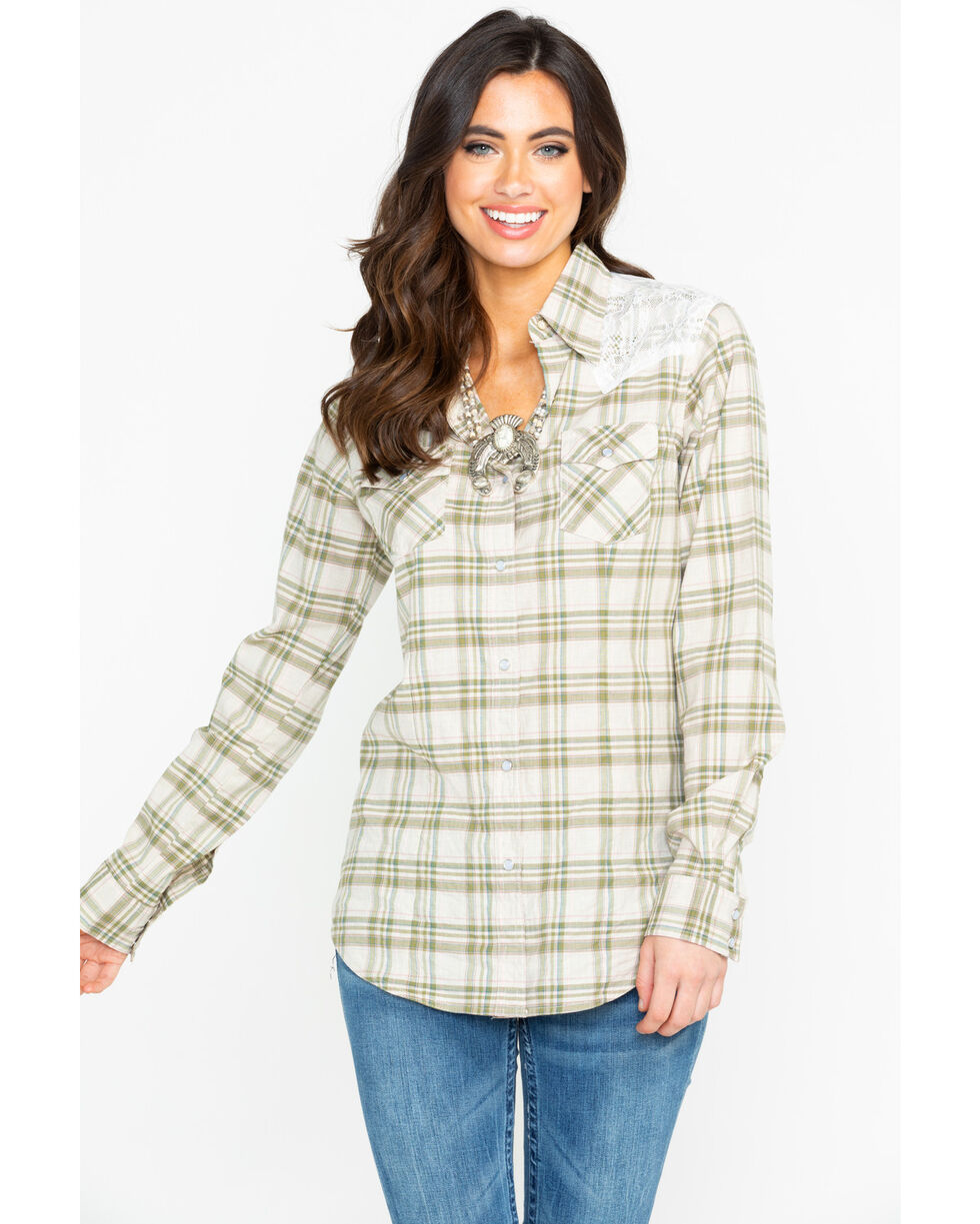 Wrangler Women's Lace Yoke Long Sleeve Western Shirt, Olive, hi-res