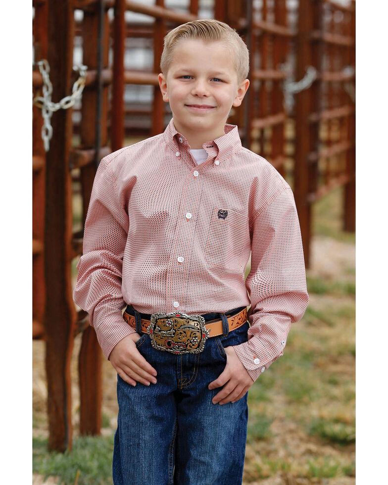 Cinch Boys' Orange Geo Dot Print Long Sleeve Western Shirt , Orange, hi-res