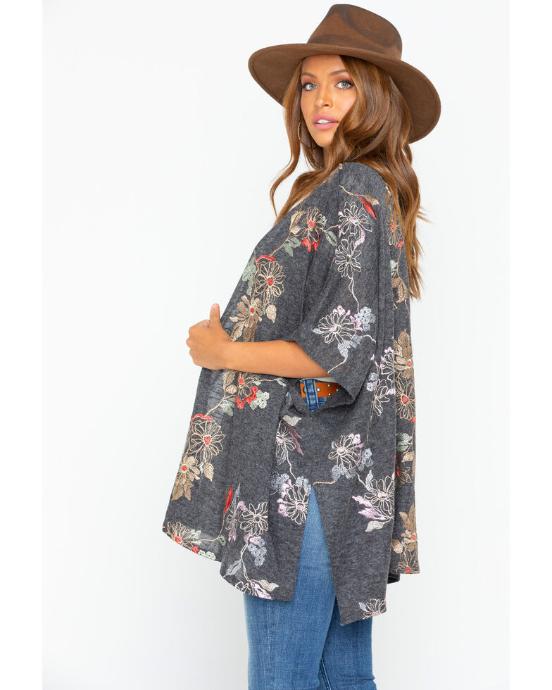 Panhandle Women's Floral Embroidered Knit Short Sleeve Kimono, Charcoal, hi-res
