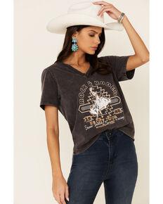 Rock & Roll Denim Women's Rock & Rodeo Graphic Tee , Charcoal, hi-res