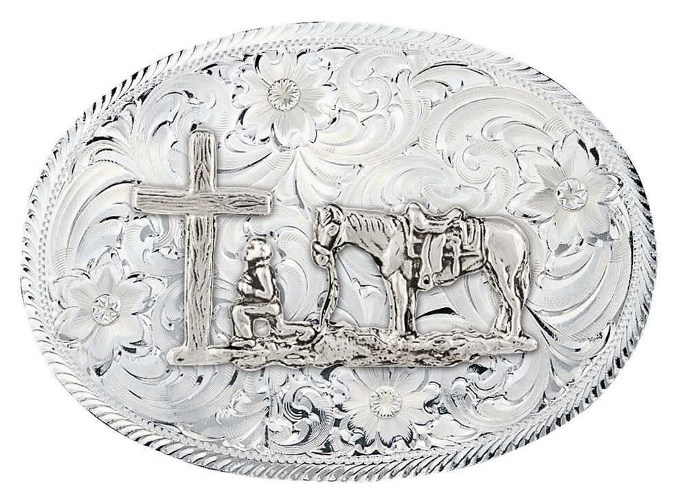 Montana Silversmiths Etched Trim Christian Cowboy Classic Belt Buckle, Silver, hi-res