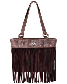 Montana West Women's Fringe Tote Bag, Brown, hi-res
