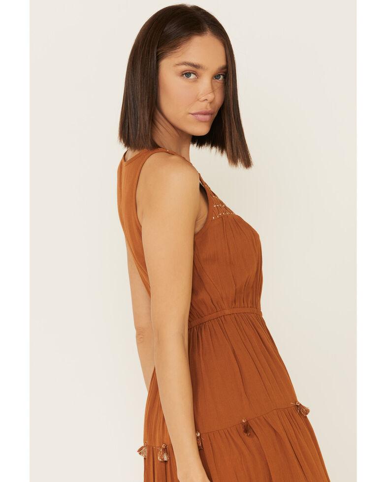 Shyanne Women's Cognac Smocked Midi Dress, Pecan, hi-res