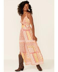 Angie Women's Border Print Knot Front Peekaboo Maxi Dress, Orange, hi-res