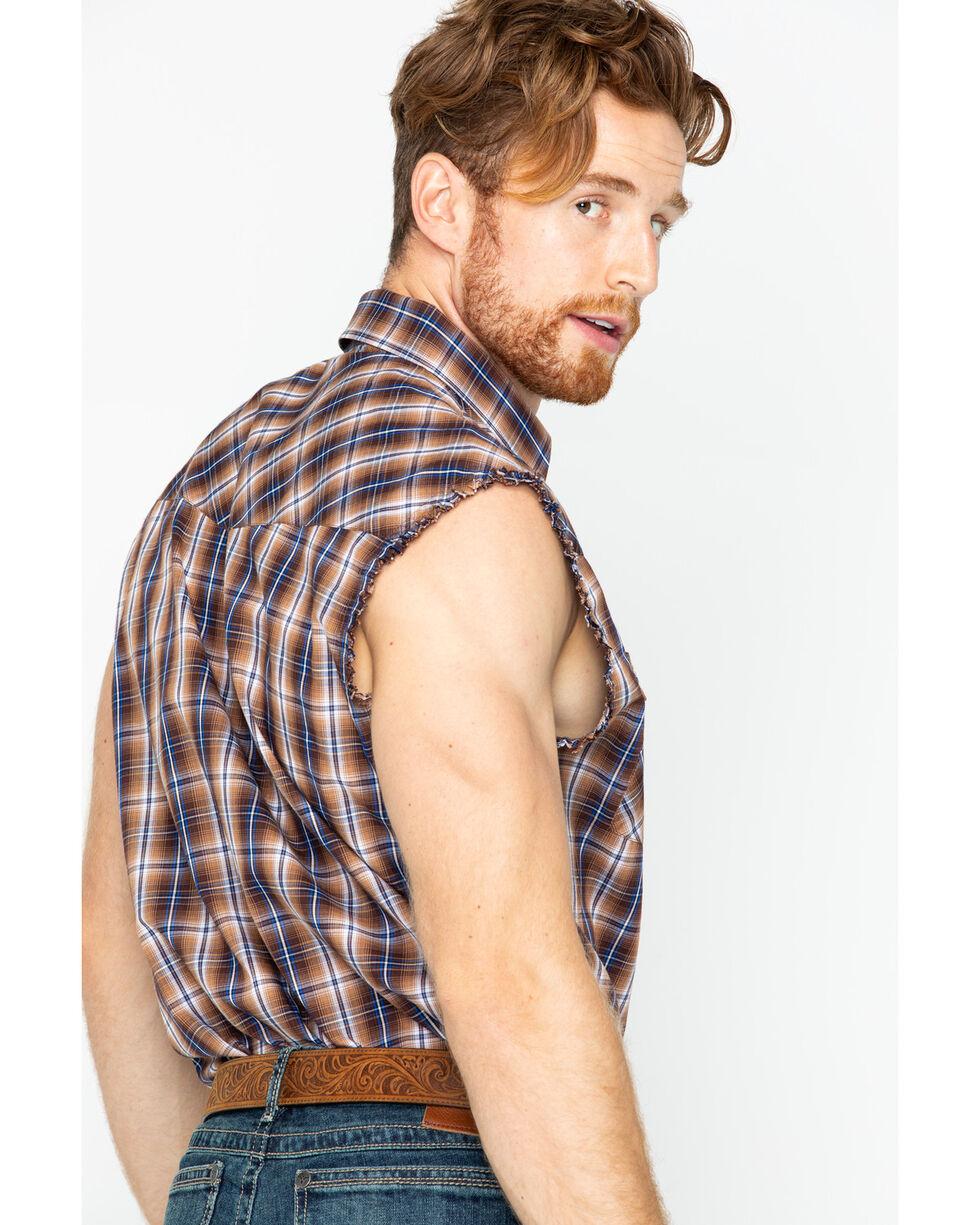 Ely Cattleman Men's Brown Sleeveless Plaid Shirt , Brown, hi-res